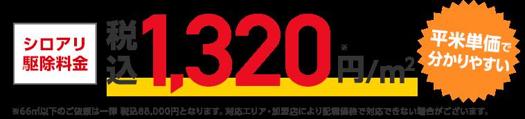 シロアリ駆除料金 1,200円(税込)/㎡ 平米単価で分かりやすい